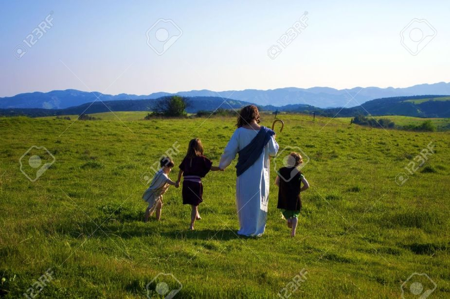 13890623-jesus-walking-with-children-stock-photo-heaven