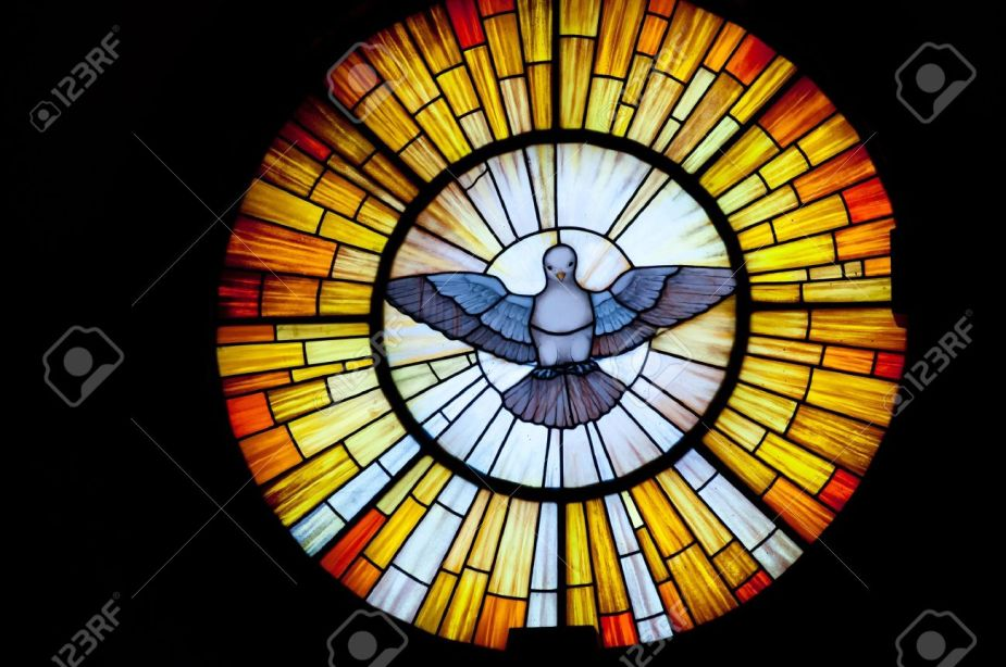 14096379-Stained-glass-picture-of-Outpouring-of-the-Holy-Spirit-photo-taken-in-a-church-Stock-Photo
